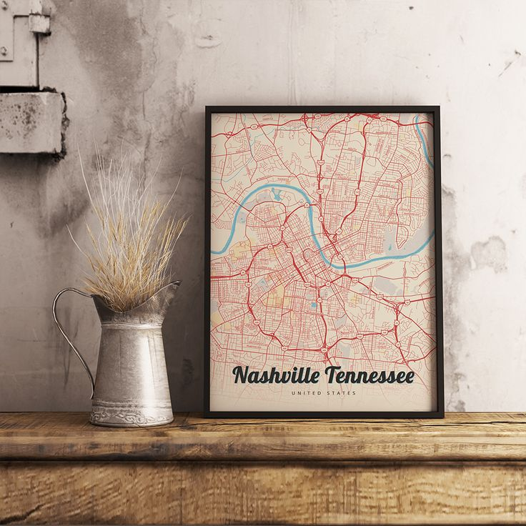 North America Map Tennessee%0A Premium Map Poster of Nashville Tennessee  Lobster Retro  Unframed   Nashville Map Art