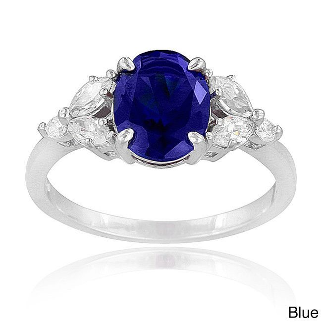 Icz Stonez Sterling Silver Created Gemstone and Cubic Zirconia Oval Ring (Blue Size 10), Women's