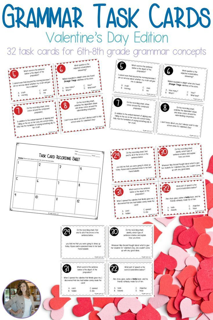 Make grammar review more fun and less cumbersome with this set of 32 grammar task cards! This set of task cards has a Valentine's Day theme for use during the month of February. The set includes both color and black-and-white versions, a recording sheet, and an answer key. Click through to get your middle school task cards now! #taskcards #grammar #grammarreview #middleschool #middleschoolenglish
