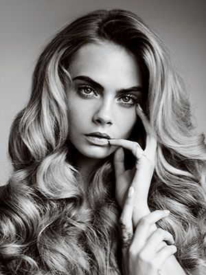 """Great Hair! Im sure extensions were used. But Damn! that Volume and roller set. Cara Delevingne Told Us Her Favorite Things: Daily Beauty Reporter :  Of course the first thing we asked about was the brows. For the record, our October cover model, Cara Delevingne, does exactly nothing on the average day, except """"make sure they are there."""" And for a big night out?..."""