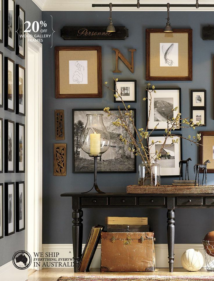 Love this grey with browns and creams. Super cool collage set up. Colors for the bedroom