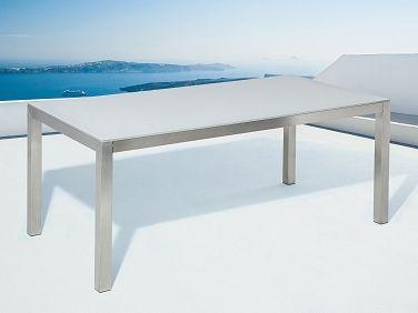 Stół biały - do ogrodu - szkło hartowane - 180 cm - GROSSETO