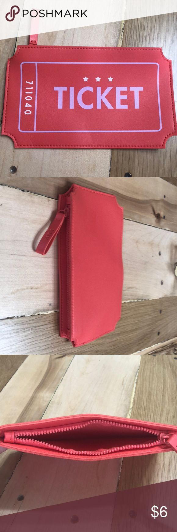 """""""Ticket"""" Small Cosmetic Bag Like New. Super cute and fun! No rips, stains, or tears. Measurements (also in pictures) about 8"""" long and 4.5"""" wide. Bags Cosmetic Bags & Cases"""