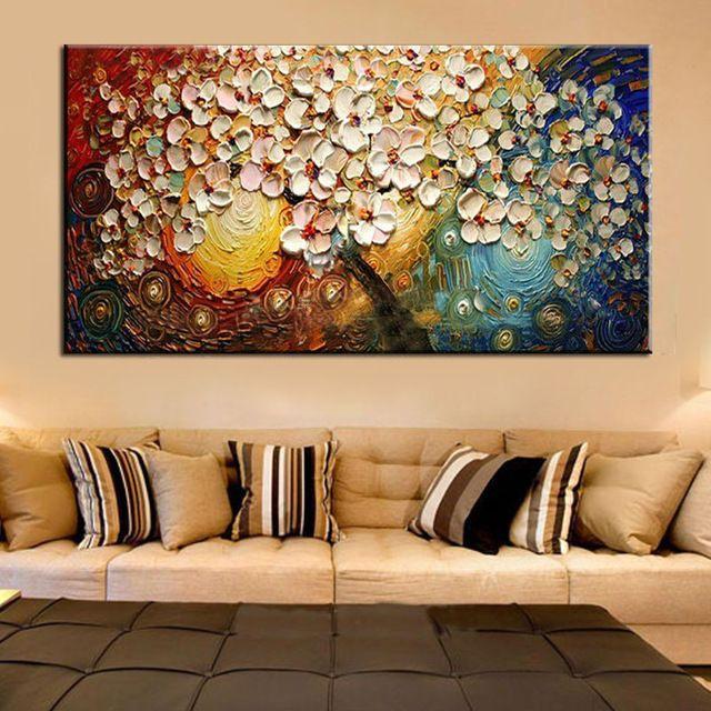 Unframed Pintado À Mão Canvas Wall Art Pintura Abstrata Moderna Flores Acrílico Espátula Pintura A Óleo para Decoração de Casa