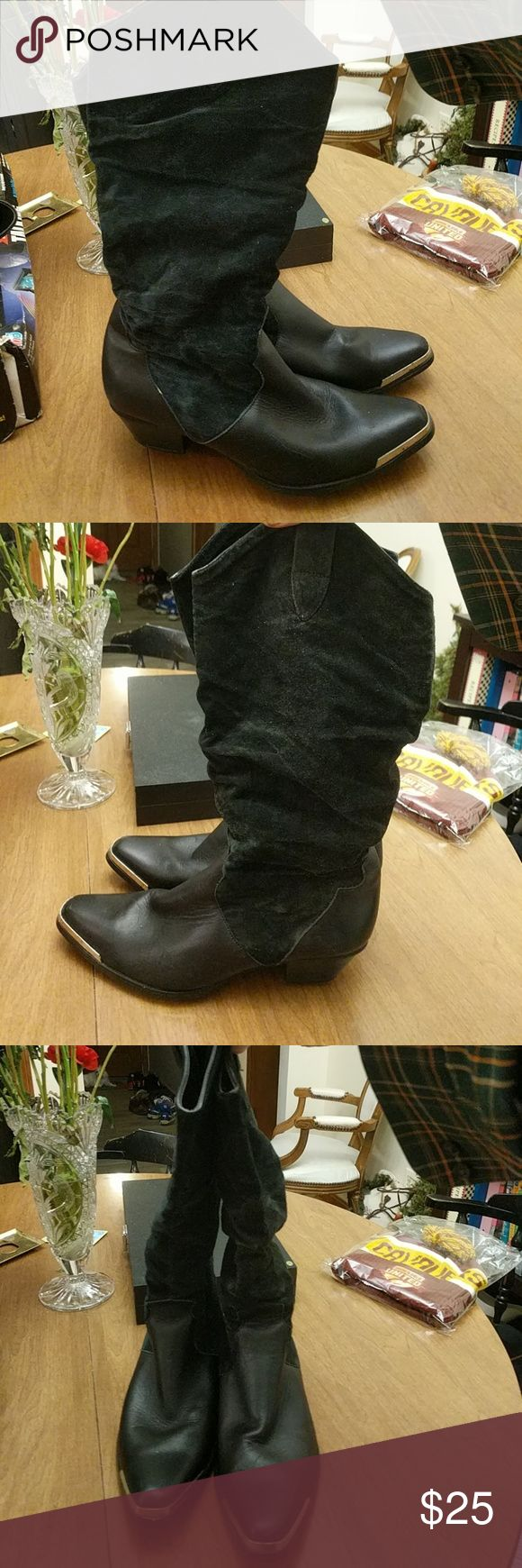 9 M Oak Tree Farms black Suede western boots Up for bid is a nice, pre-owned pair of women's 9 M Oak Tree Farms black Suede and flat Leather pull on cowboy Boots Western size 9 m. There is metal trim around the toes.the shanks are a more flimsy material  The shanks have some fading, amd bit of wear on the tops of the shanks, but the uppers and soles are in good condition overall Shoes Heeled Boots