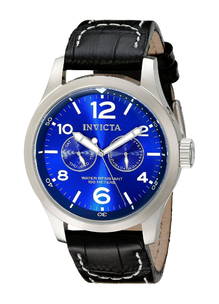 Invicta Men's 10490 Specialty Military Stainless Steel Watch with Black Leather Strap.  Bringing you the best luxury watches online at the most affordable prices for premium brand name watches: http://www.bestwatches1st.com/#!invicta-specialty-watch-collection/wiemg
