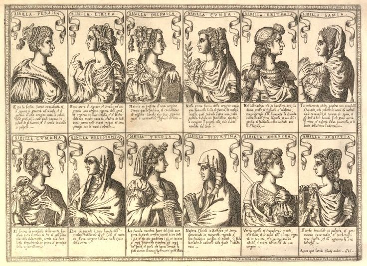 Portraits of the twelve sibyls in profile in two rows, with banderoles above each carrying their names, verse below. 1586 Etching