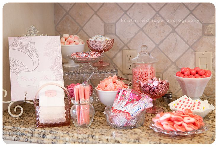 Baby Showers - Girls ... Fun idea....get the Mama-to-Be's favorite candy in pink or blue and put in pretty glass ware for the party.