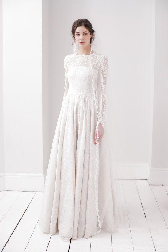 Wedding Veil Lace Wedding Veil Ballet Length Veil Floor
