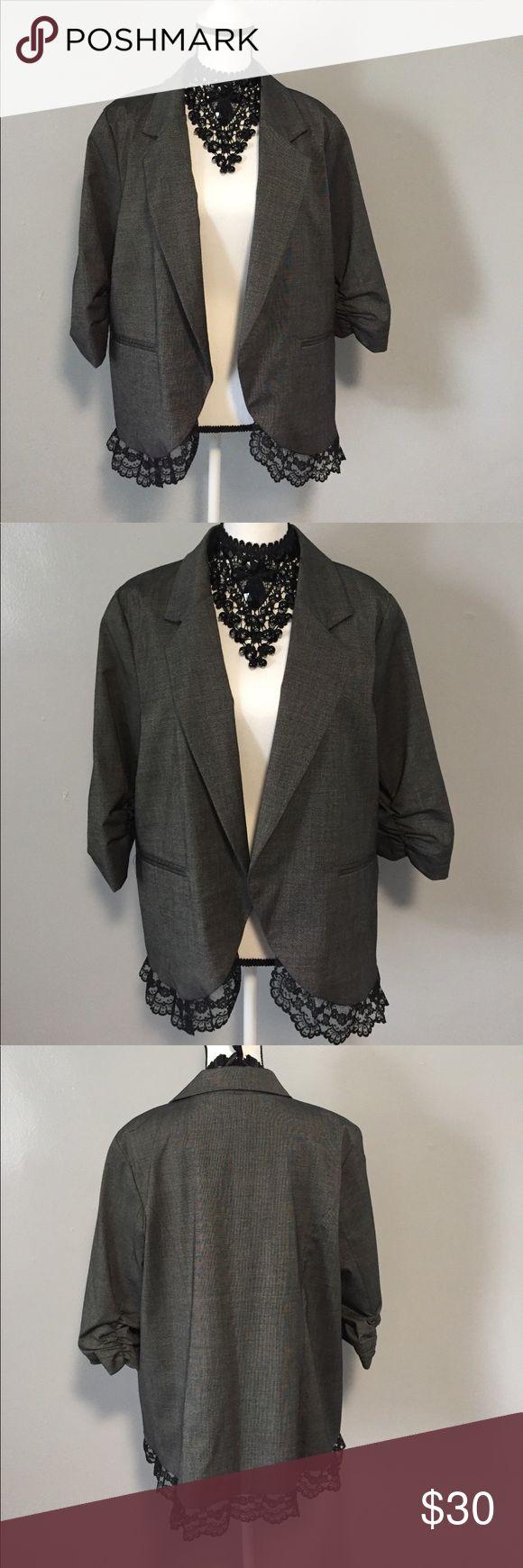 NWOT Gray Black scrunchy Sleeve Blazer 1x NWOT Gray Black scrunchy Sleeve Blazer 1x. With a cute Lace bottom trim. Jackets & Coats Blazers