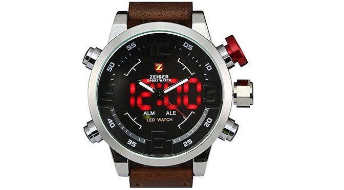 Zeiger-reloj de pulsera para hombre, deportivo, correa de piel Marrón, impermeable, doble hora | Joyería online, joyas de Plata y Oro.