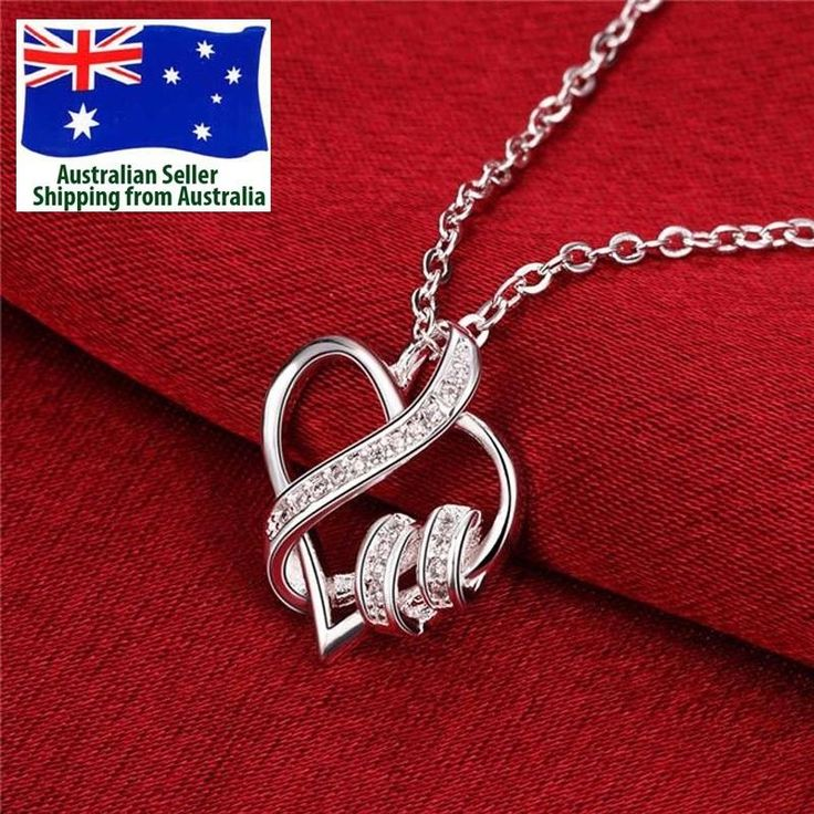 925 Sterling Silver Plated Heart Shape Pendant  Fashion Women Necklace Jewellery #Unbranded #Pendant