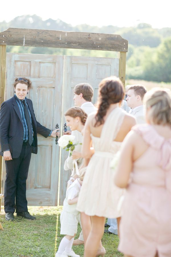 Doors you can close for the bride to enter through at an outdoor wedding! This way the first look is still a surprise  Or just have the groom facing away as you walk towards the aisle and get the best man to tell him to turn around when you get close