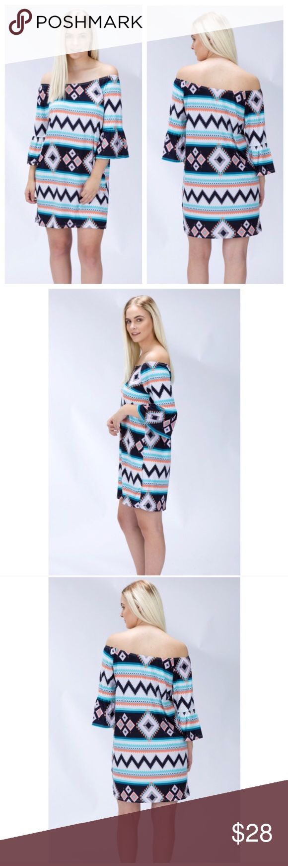 Off Shoulder Tribal Print Dress Perfect dress for spring and summer occasions! 95% polyester and 5% spandex! Length from armpit down is 24 inches! Dresses Mini