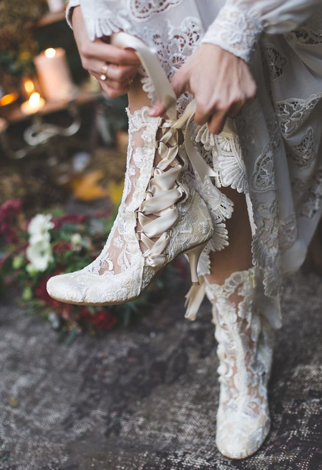 House of Elliot vintage lace ankle boots - The perfect Victorian inspired handmade lace wedding boots! #weddingboots
