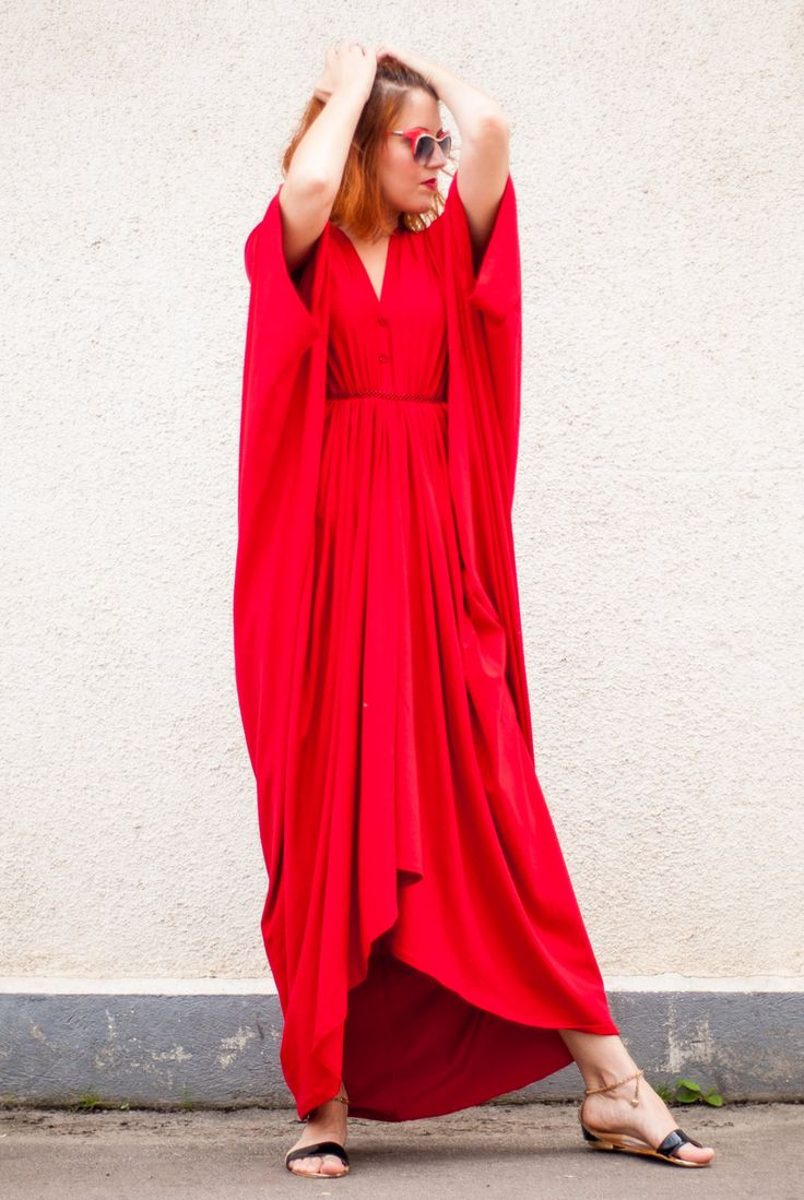 Red Maxi Dress / Loose Red Kaftan / Oversize Extravagant Dress / Asymmetric Plus Size Dress TDK26 by Teyxo on Etsy