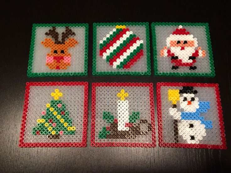 Chreistmas coasters hama perler beads by Julie Loose