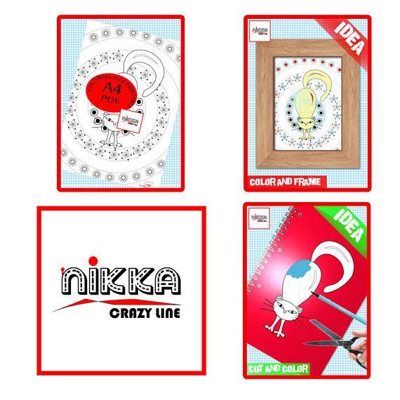 Pagina da colorare per adulti e bambini  disegno da colorare - Pagina da colorare per adulti e bambini - disegno da colorare - gatto stampabile - Download digitale - PDF download - A4 -