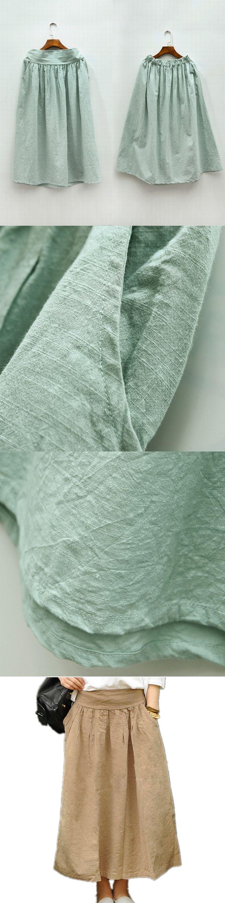 Mori Maxi Skirt High Quality Cotton Linen Pleated Skirt Basic Solid Green Blue Khaki White Pocket Long Maxi Skirts For Women