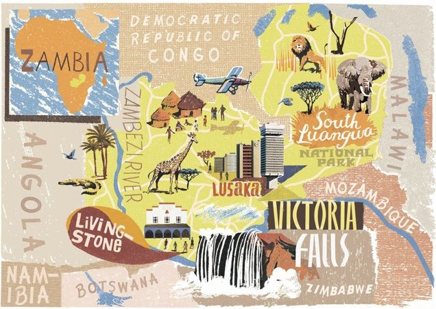 Anna Simmons - Map of Zambia for National Geographic Traveller