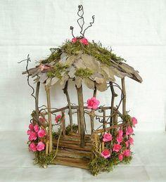 Fairy Garden Miniature Doll House ROSE Flower and Moss WOOD TWIG GAZEBO HandMade