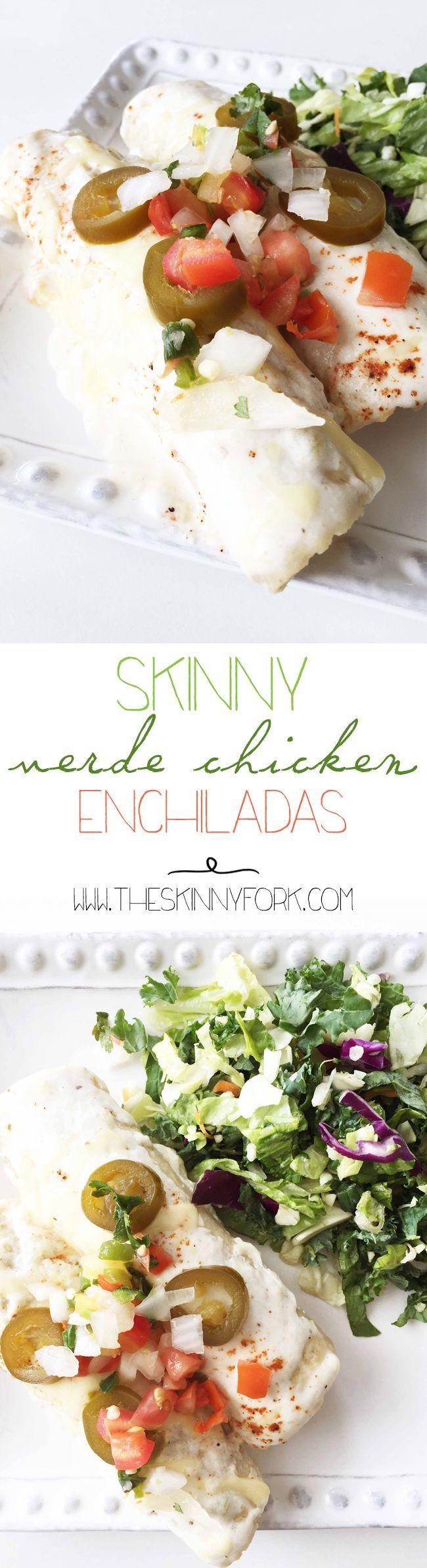 Skinny Verde Chicken Enchiladas - A light take chicken sour cream enchiladas made with yogurt and green chilies! TheSkinnyFork.com | Skinny & Healthy Recipes