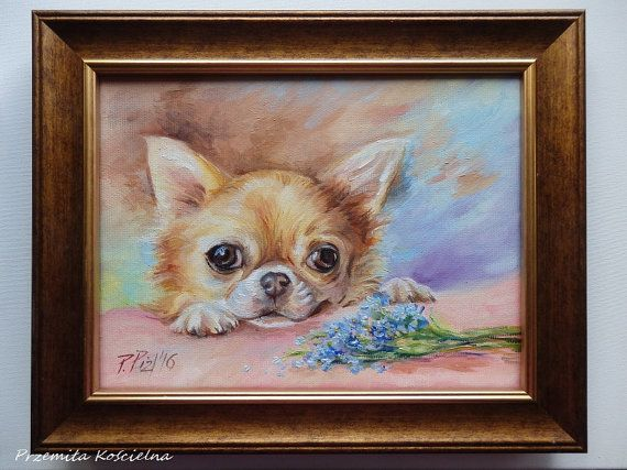 Forget me not, Chihuahua Art, DOG PORTRAIT , Original Oil PAINTING on canvas, Pet portrait, Flowers, nots, Small size Animal ARTl, Framed