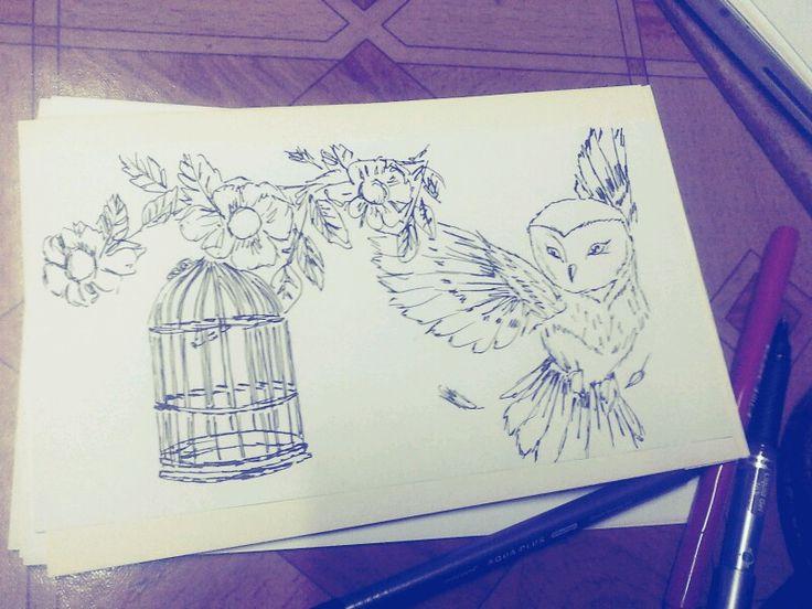 #vuelo #libertad #aves #plumas #jaula #tiralineas #estilografo