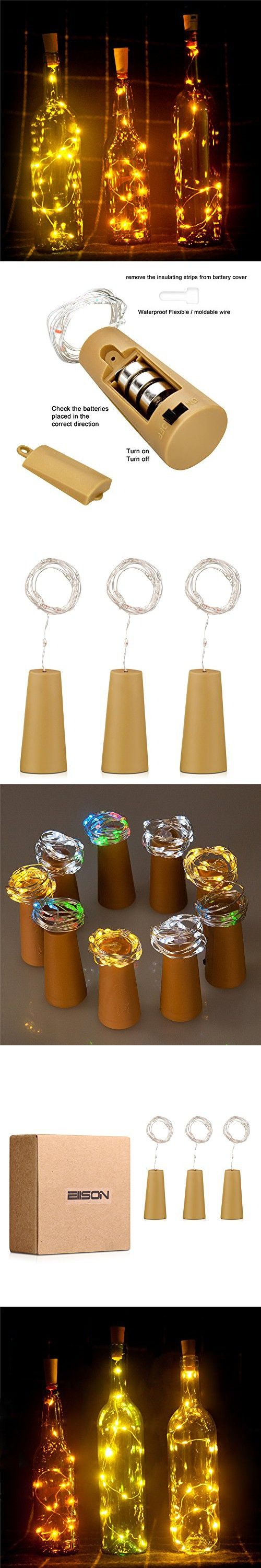 Bottle Light,3 Pack of Wine Bottle Cork Lights, Copper Led Light Strips, Wire Starry Rope Lamp Kit DIY with battery for Christmas Decor Wedding Party Decoration, Holiday Décor, EIISON (Warm White)