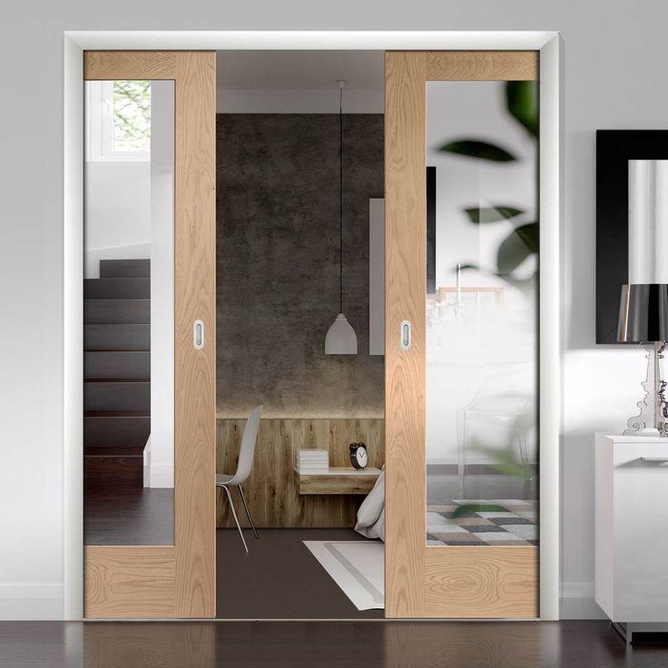 Double Pocket Pattern 10 Oak Door - Mirror One Side - Lifestyle Image. #pocketdoors #slidigndoors