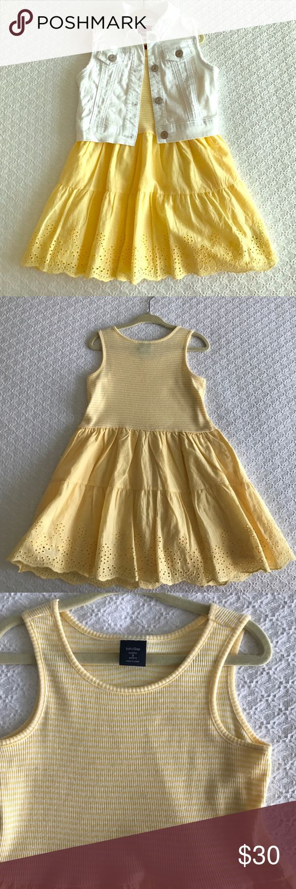 NWOT!! Gap yellow dress with white jean vest NWOT!! Gap yellow sundress with eyelet size 3 with white jean vest size XS (4/5). Can be sold separately. GAP Matching Sets