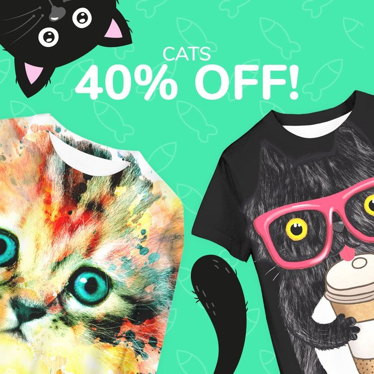 CAT LOVERS!♥️ Get 40% OFF for sweaters and T-shirts with cat's theme now. Sale is only for selected designs and will end in less that 24 hours. Check it here: https://liveheroes.com/en/product/special-offers #cats #hotprices #sweater #tshirt #liveheroes #fullprint