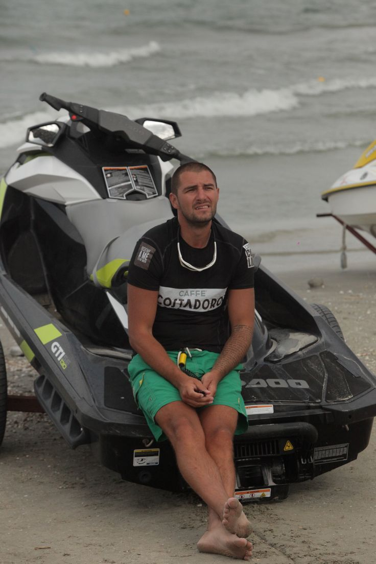 superbike champion CATALIN CAZACU - cought on seaside- always near by havy motor power skyjet by SEEDOO