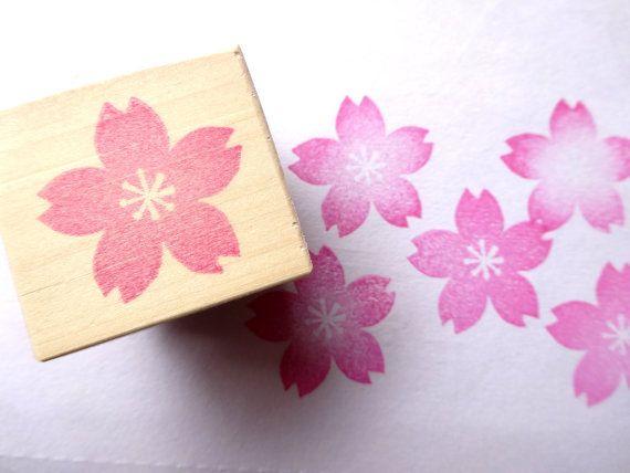Timbre en caoutchouc, timbre de fleur de cerisier, invitations de mariage, décoration de printemps, fleur rose, Sakura, timbre japonais, mariage japonais, Kawaii station