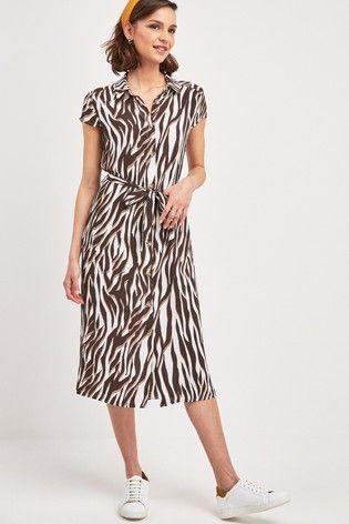 a6e82ce7c9e1 Zebra Animal Belted Shirt Dress