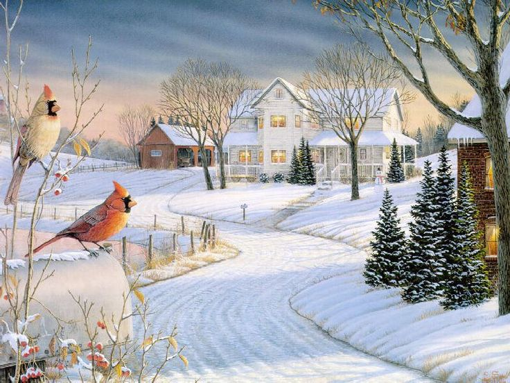 One Afternoon In The Country  Beautiful Artvintage inspired  Christmas paintings Winter