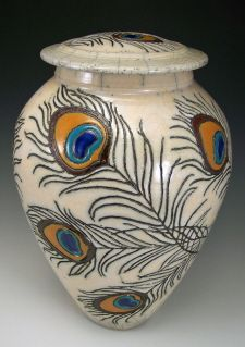 Lidded Raku Vessel with carved peacock feather design  Anne Webb #raku #peacock #pottery #jar $550