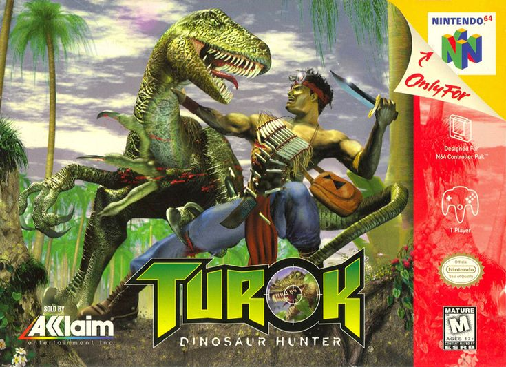 "Box art for ""Turok,"" a first-person shooter for the Nintendo 64, released by Acclaim Entertainment in 1997"