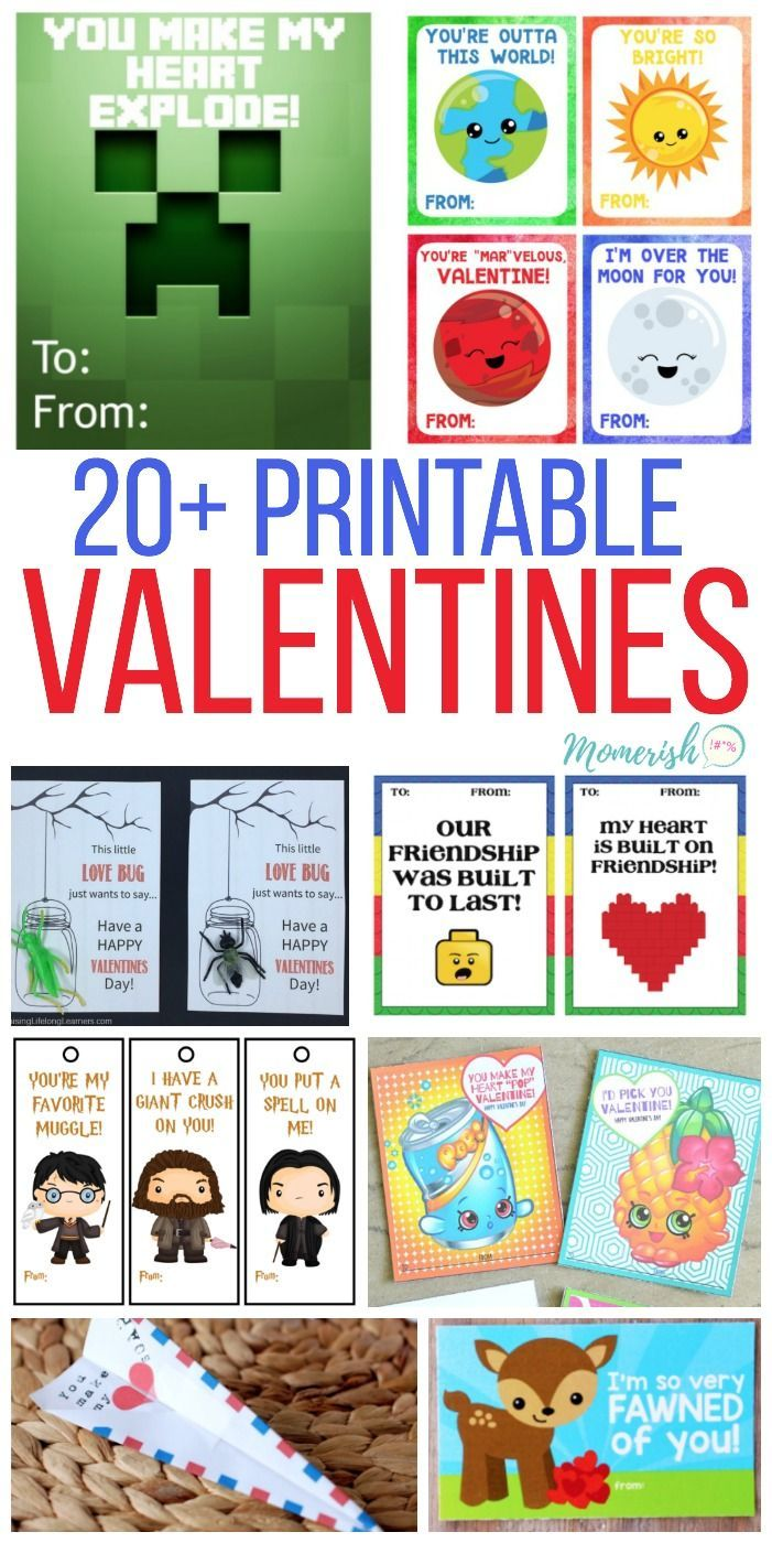 DIY Valentines Day Cards for Kids - Over 20 printable valentines day cards that your kids will love! via @keciahambrick