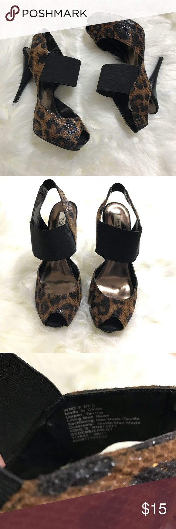 | Simply Vera Wang | 9 | Cheetah heels GUC Vera Wang heels Super comfy thick strap on the front makes them easy to slip on and wear for hours See scuff on heels. Easy to fix with a sharpie! Simply Vera Vera Wang Shoes Heels