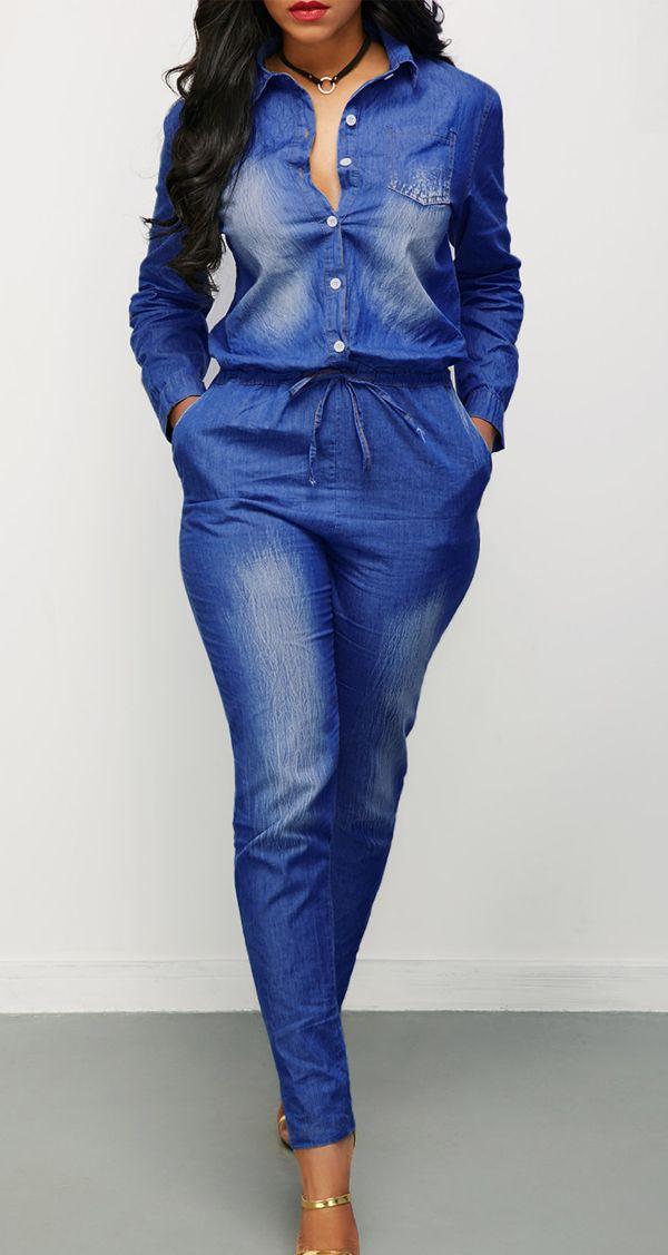 Turndown Collar Button Up Drawstring Waist Denim Jumpsuit Street Style Trend Fashion, casual fashion pattern, u can get it at rosewe.com.