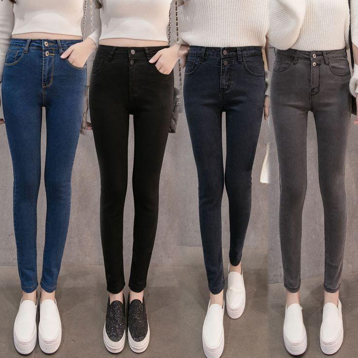 Осень Женщины Высокой Талией Джинсы Случайные Джинсовые Тощий Плюс Размер Карандаш Брюки повседневная тощий джинсовые брюки тонкие женские брюки