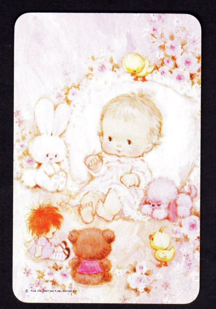 Valentine Swap Card - Gorgeous Baby Girl with Toys (BLANK BACK)