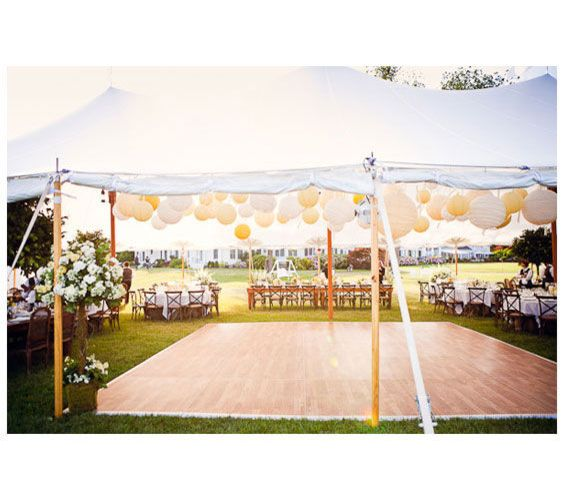 Simple Outdoor Wedding Ideas | Outdoor wedding reception tent with yellow and white lanterns