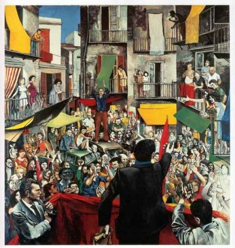 Renato Guttuso  Il comizio 1975