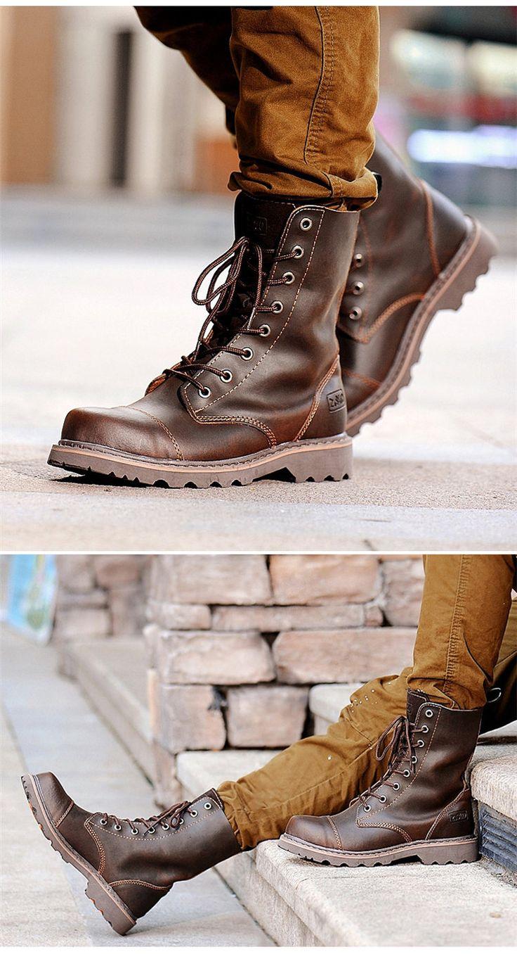 Z. Suo/trend of the cable men's shoes men's boots UK Martin boots men cowboy…