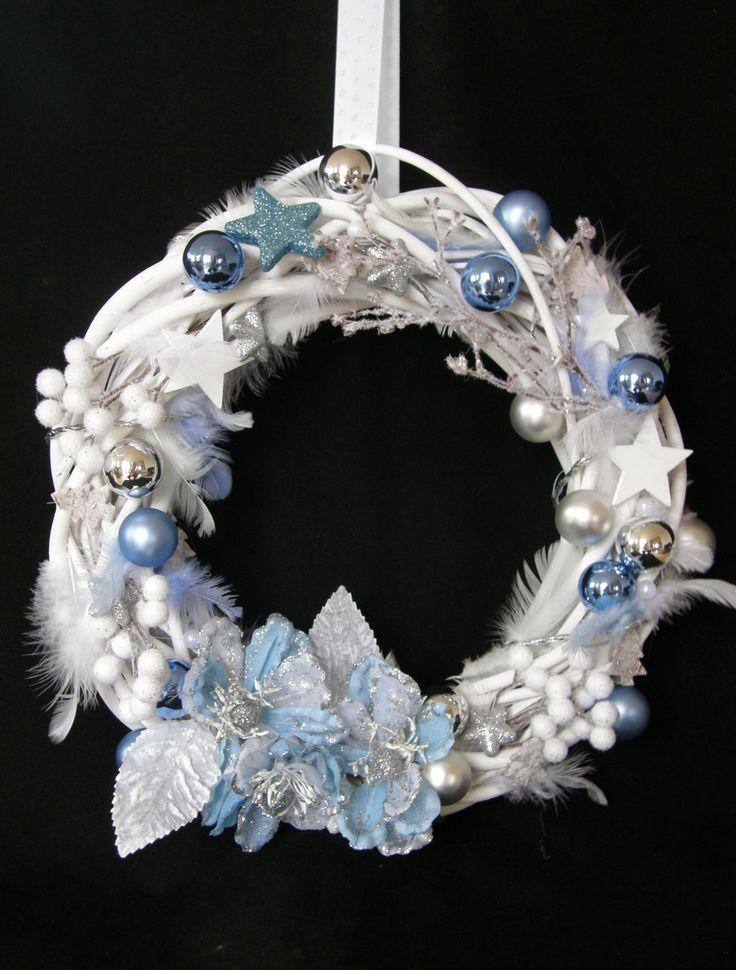 Christmas Door Wreath white blue  Türkranz Weihnachten Advent weiss blau