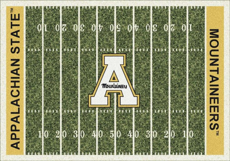 Appalachian State Mountaineers Football Field Rug. This Milliken Mountaineers rug features a detailed football field layout complete with yard lines as well as the Appalachian State team name in the e