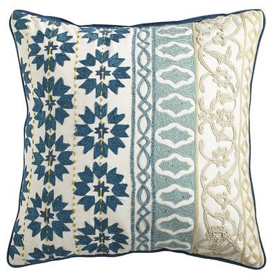 Harlem Blues Moroccan Crewel Pillow (Pier 1) - In tones of honey, ivory and blue, this crewel pillow is the height of embroidered achievements, with multiple geo-floral and Moroccan tile patterns converging into an elegant accessory for your home's decor.