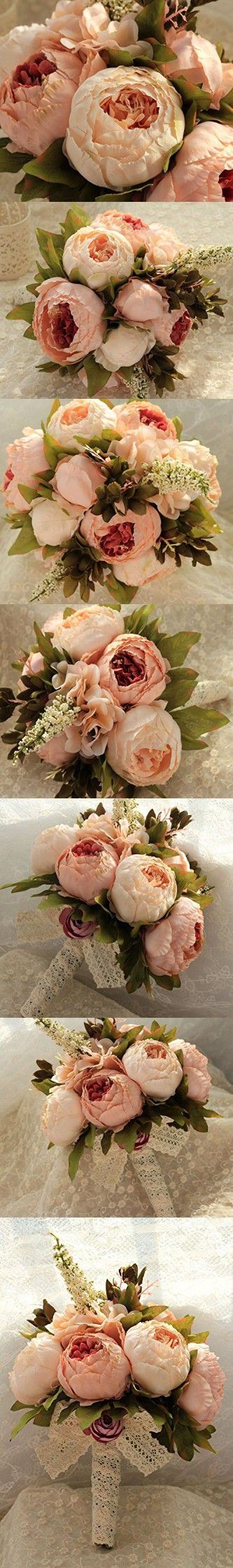 Bridess Artificial Peony Silk Flowers Bouquet Home Wedding Decoration (Champagne)